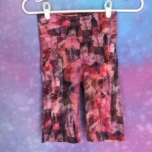 Lululemon size 4 biker shorts 10 inch inseam pink and purple abstract